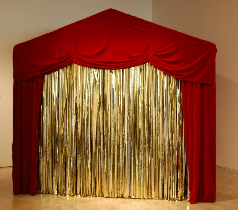 LYDIA GREER  A SELF MADE HOUSE hand stiched theatrical velvet, steel. gold plastic, sound, projection