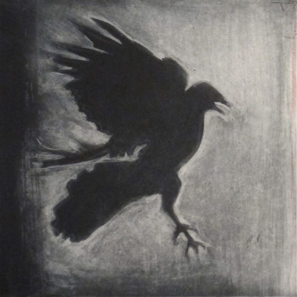 6x6 Intaglio Crows A Murder of Crows no. 12 (greedy)