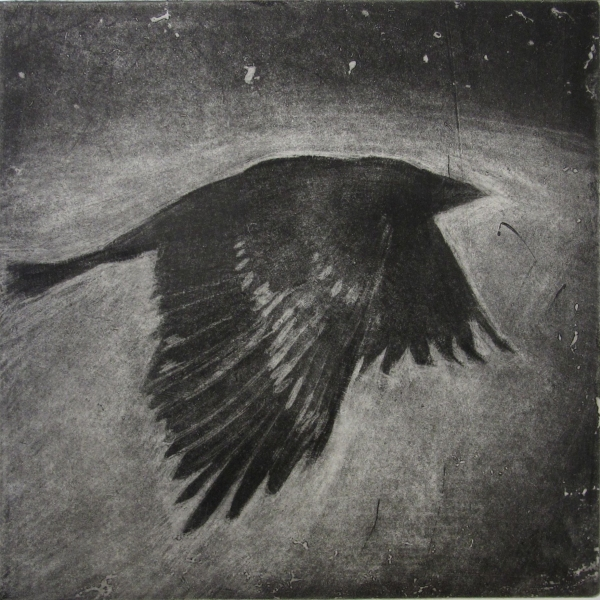6x6 Intaglio Crows A Murder of Crows no. 13 (night)