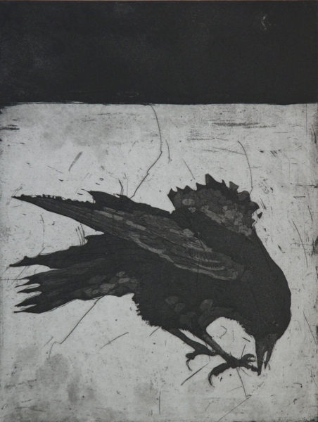 Larger Intaglio Crows A Murder of Crows no. 6 (pecking)