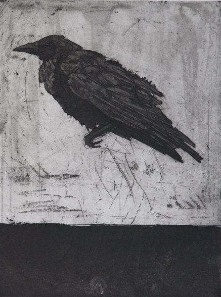 Larger Intaglio Crows A Murder of Crows no. 5 (perched)