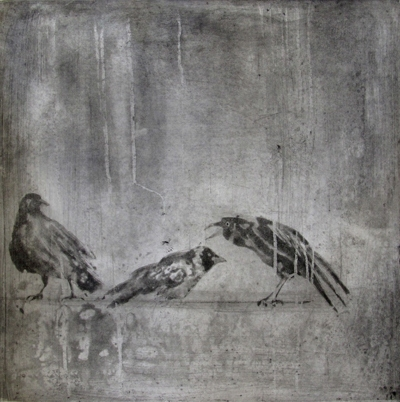 Larger Intaglio Crows A Murder of Crows no 2 (standing)