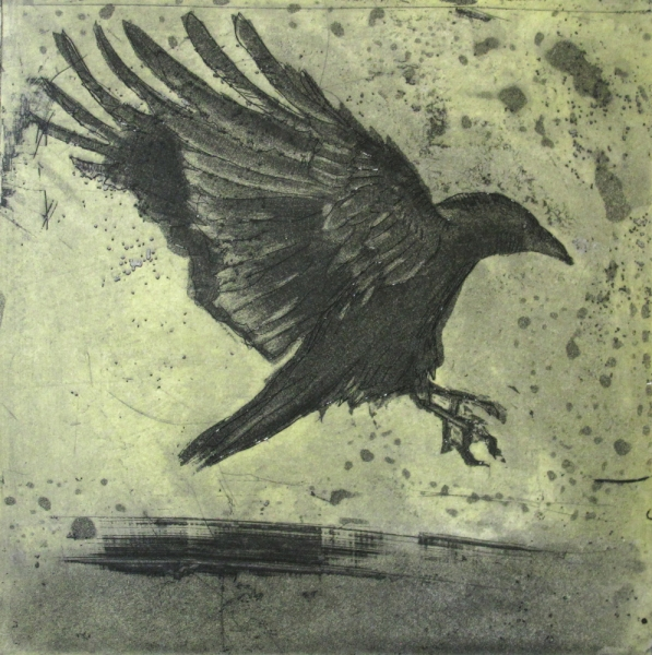 6x6 Intaglio Crows A Murder of Crows no. 17 (Landing/shadow)