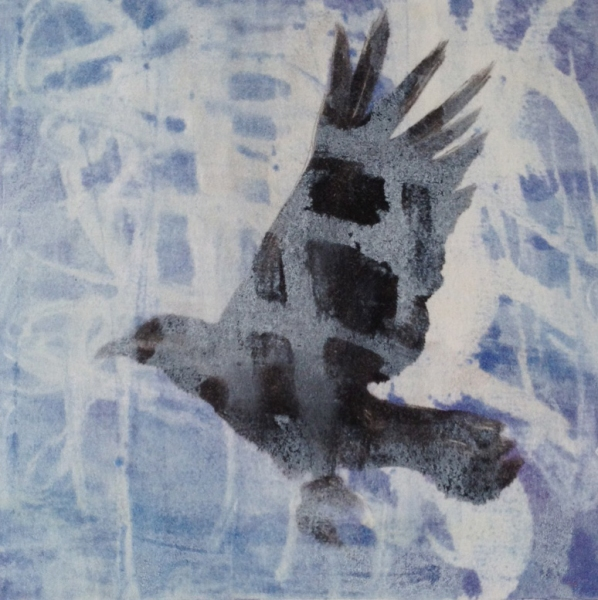 Monotype Crows A Murder of Crows no. 31 (blue grid)