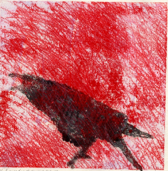 Monotype Crows A Murder of Crows no. 32 (red chatter)