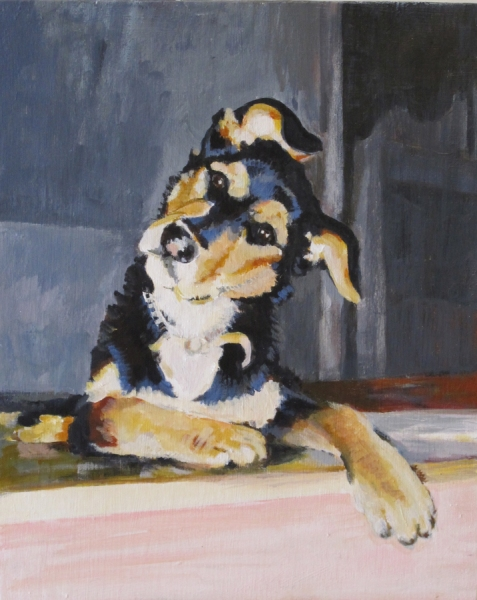 "Painting ""Sit"" Maggie"
