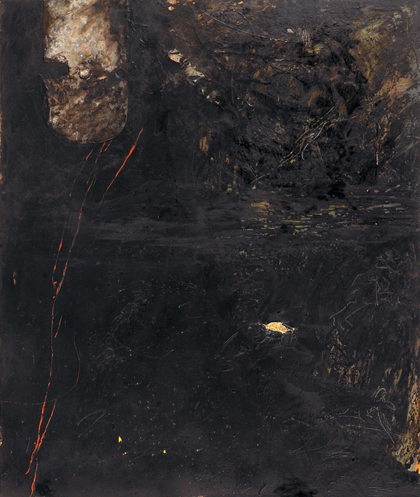 Painting oil, asphalt, gold leaf, lead on canvas