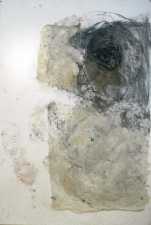 madeline denaro Wax/charcoal drawings  beeswax, gauze, charcoal on paper