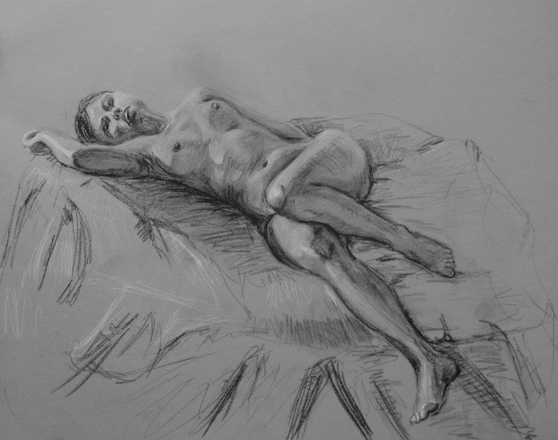 Maggie Shafran Sketchbook Charcoal on Paper
