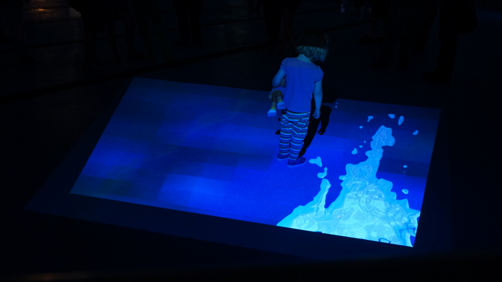 "2013 Installation view of ""Night Diving"": 11:25 min digital animation with sound"
