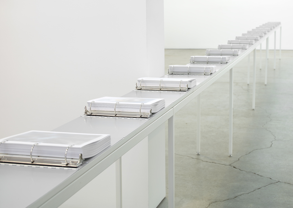 Marc Handelman Aggregates 2700 Archival inkjet prints, 18 aluminum binders, steel table