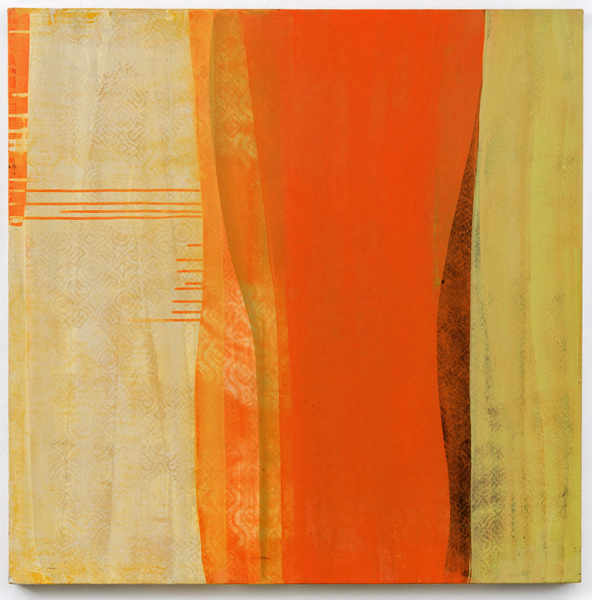 "Reveal Series  Orange Midriff, 36"" x 36"",acrylic on canvas,  2015"