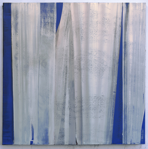 "Reveal Series  Blue View, 36""x 36"", acrylic on canvas, 2015"