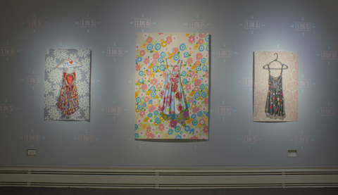 MARGARET MURPHY Dresses watercolor, acrylic, latex acrylic on paper on wall