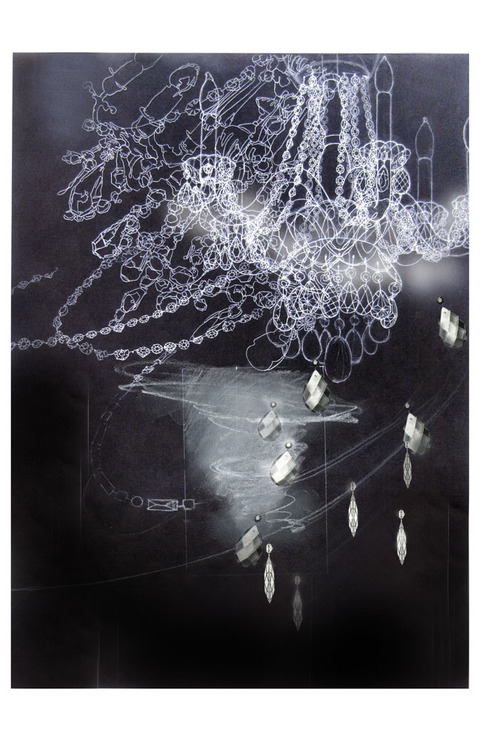 Margaret Keller Chandelier Series Graphite, ink jet print, mixed media, pastel