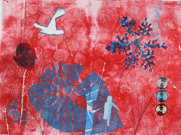 Margaret Matheson                                 Fine Art  Monoprints: Mythos  Monoprint with Relief Print and Painted Collage