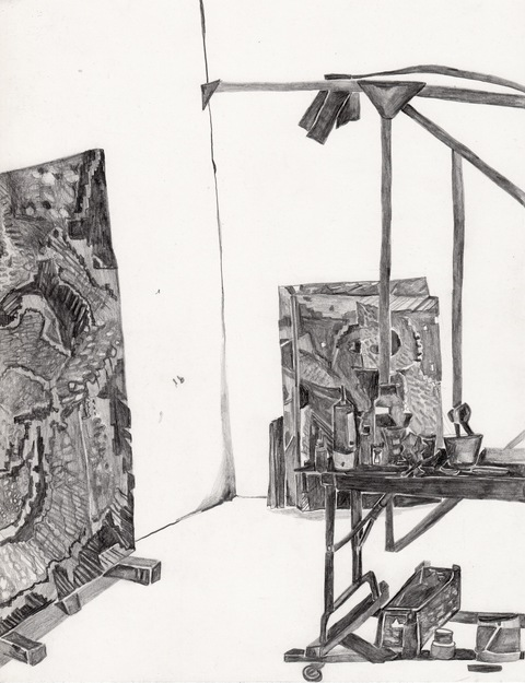 "MARIA CALANDRA Pencil in the Studio Drawings 11"" x 8.5"""