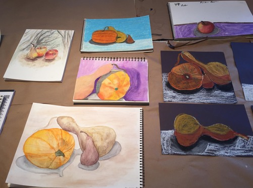 Maria Katzman Student Art Work (2 pages) Cray-Pas and watercolor