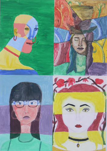 Maria Katzman Student Art Work (2 pages) Tempera Paint