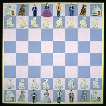 Maria Spector CHESS GAME Oil on Canvas and wood/steel and magnets