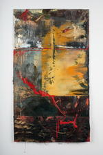 Mixed Media Oils, pencil, loose metal powder, nupastel, graphite, stitching, dyed fabric collaged with paper.