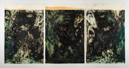 Mixed Media Monoprints in oil, graphite, loose metal powder on paper.