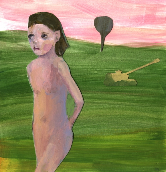 Figurative Collages Girl and Tank