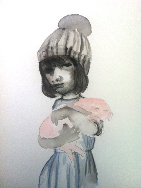 Figurative Works on Paper Girl and Pig