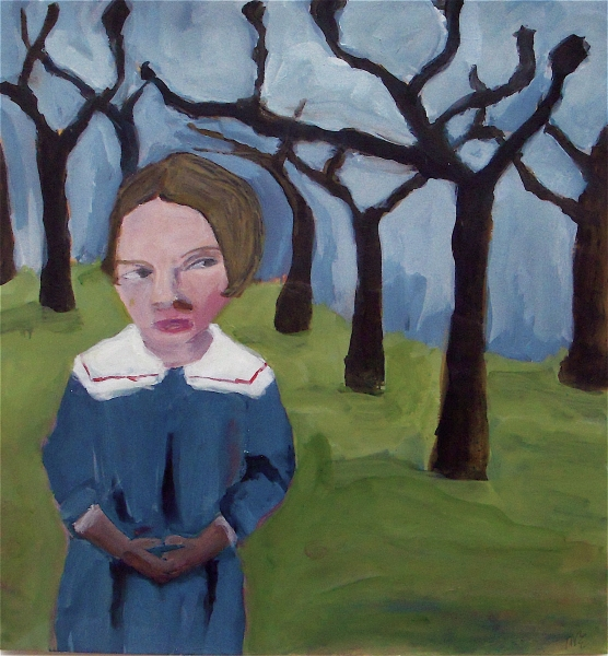 Figurative Collages Blue Dress Girl and Trees