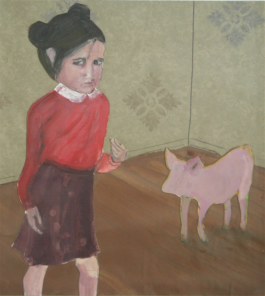 Figurative Collages Girl and Pig