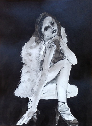 Figurative Works on Paper Fur and Pump