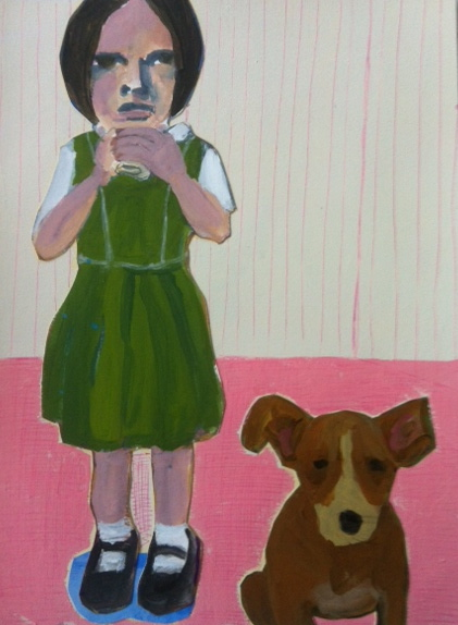 Figurative Collages Girl in Green Dress, Dog