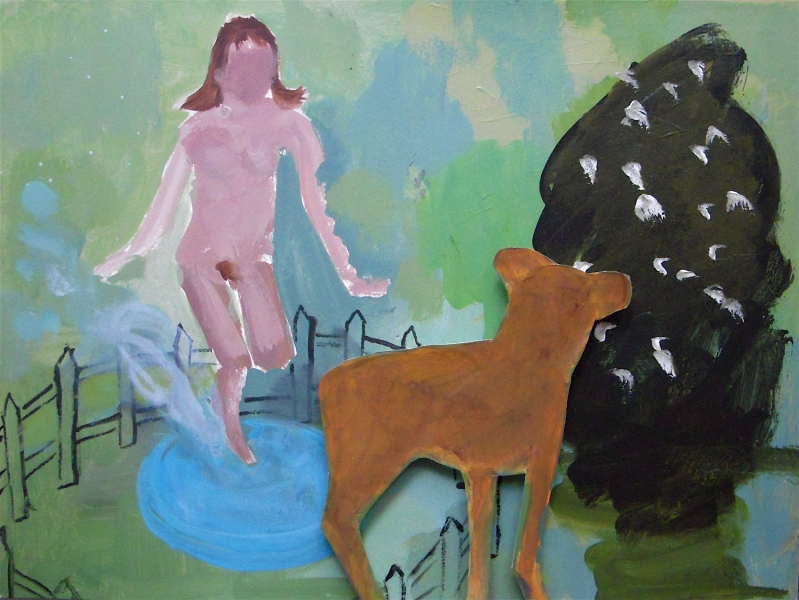 Figurative Collages Girl, Pool, Dog