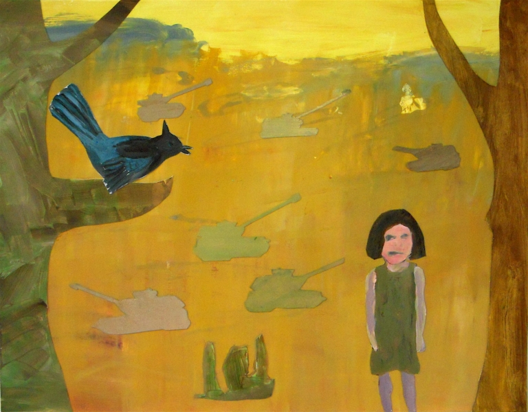 Figurative Collages Girl, Bird, Tanks