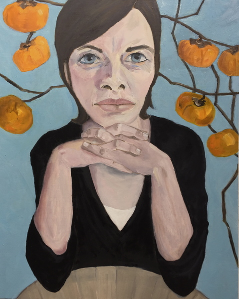 Portraits Self Portrait with Persimmons