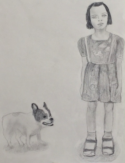 Figurative Works on Paper Girl and Dog