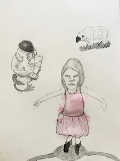 Figurative Works on Paper Girl, Mr P and Sheep
