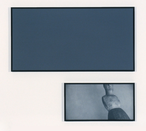 Marina Cappelletto 1995-1998 B&W photograph, sanded glass, oil on board, steel