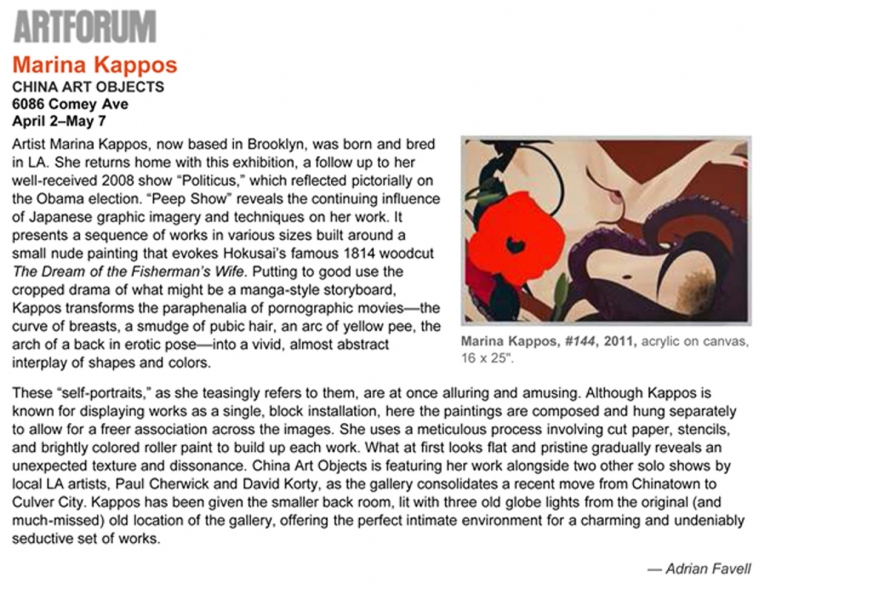 Marina Kappos Selected Press http://artforum.com/picks/section=la&mode=past#picks27964