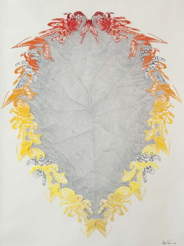 Marjorie Van Cura Hybrid Series - Works on Film permanent marker, oil and liquin on polyester film