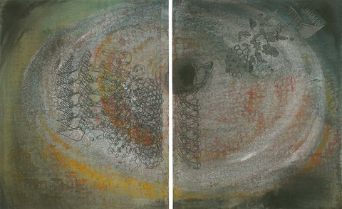 Marjorie Van Cura Hybrid Series - Works on Paper ink, carbon and graphite on rag paper