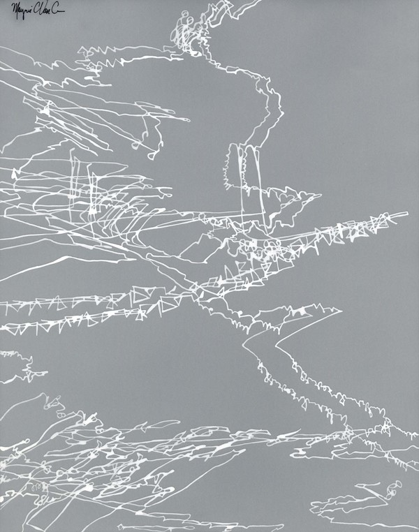 Marjorie Van Cura Recent Drawings on Film white ink on translucent film
