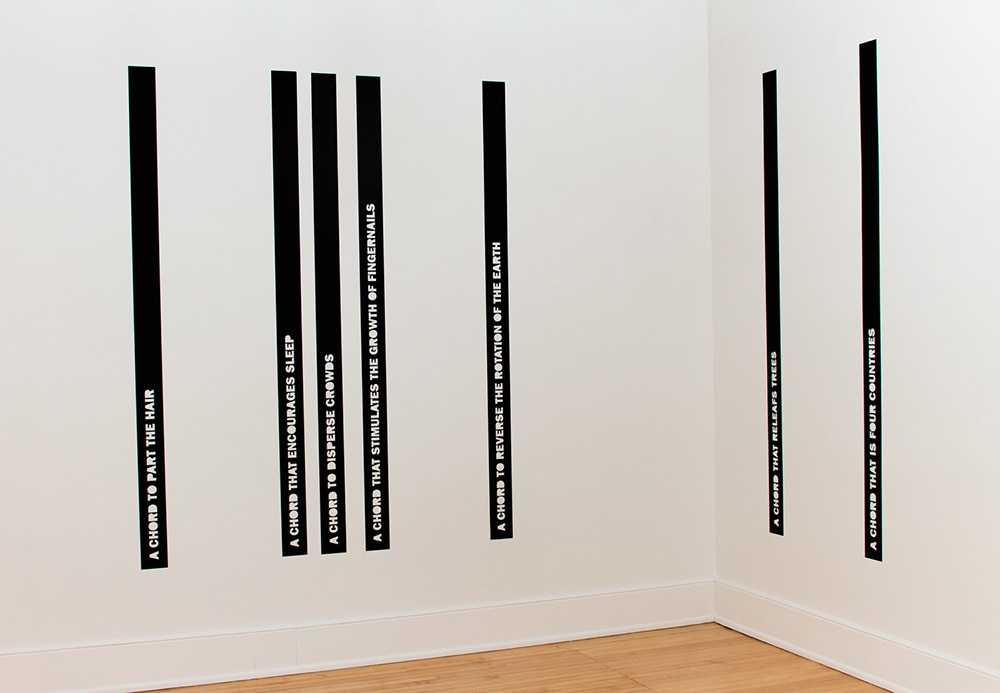 mark booth AN INDEX OF EUPHONIOUS AGGREGATES One-channel sound with vinyl wall text