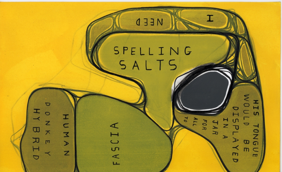 mark booth SPELLING SALTS Ink and acrylic gouache on paper