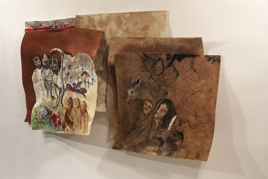 Marsha Nouritza Odabashian Paintings: EXPUNGE, 2015 Compressed Cellulose Sponge, Charcoal, Graphite, Onionskin Dye, Acrylic Paint