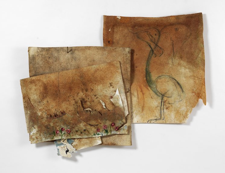 Marsha Nouritza Odabashian Paintings: EXPUNGE, 2015 Compressed Cellulose Sponge, Onionskin Dye, Ink, Acrylic, Model Magic