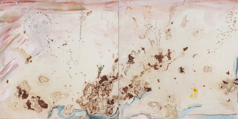 Marsha Nouritza Odabashian Paintings With Onionskin Dye 2015-2017 Onionskins and Dye with Acrylic Paint on Canvas