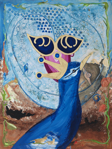 Marsha Nouritza Odabashian About In The Shade of the Peacock and Half Perceived: Stalking the Peacock (Click to open)  Oil on Canvas