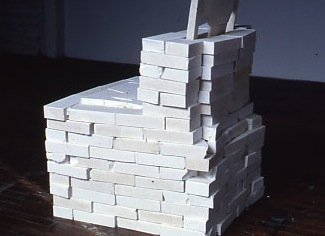 Martha Schlitt BRICKS AND PLASTER wooden kitchen chair, handmade plaster bricks