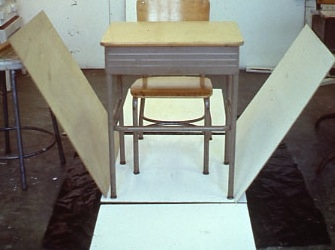 Martha Schlitt BRICKS AND PLASTER school desk, chair, luan panels
